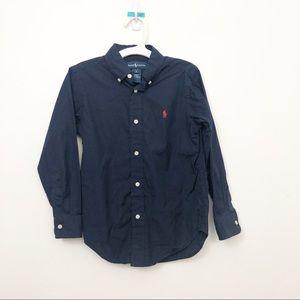 Boys Ralph Lauren Navy Button Down Dress Shirt